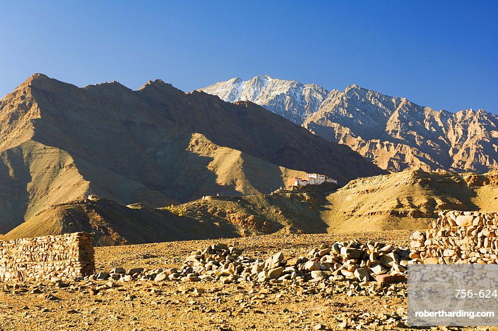 Matho gompa (monastery) and Stok-Kangri massif, Ladakh, Indian Himalaya, India, Asia