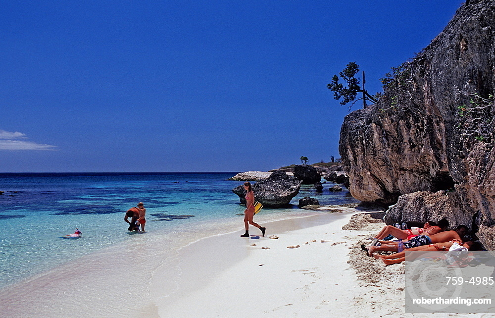 Tourists on the beach, Netherlands Antilles, Bonaire, Caribbean Sea, Washington Slagbaai National Park, Wayaka