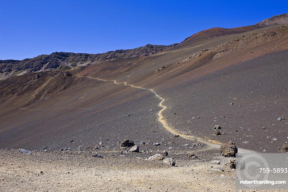 Sand Trail at Crater of Haleakala Volcano, Maui, Hawaii, USA