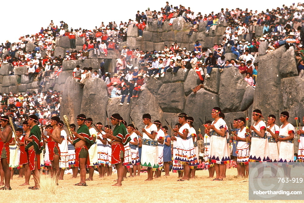 Inti Raymi the procession of warriors during the Incan Festival of the Sun, held at Sacsayhuaman, above Cuzco on June 24th, Peru