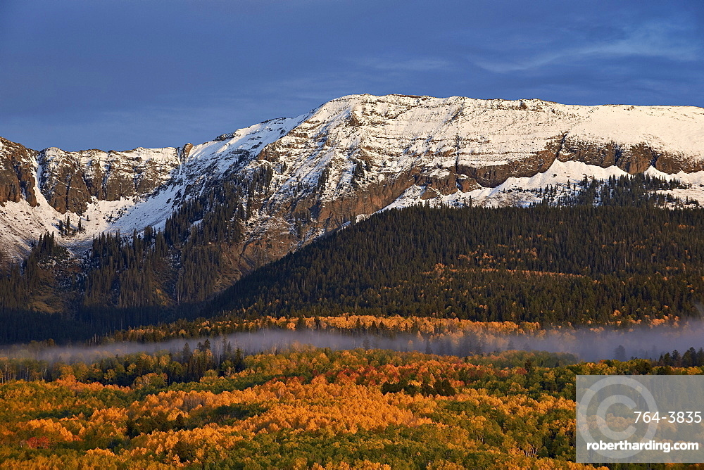 Snow-covered mountain in the Sneffels Range in the fall, Uncompahgre National Forest, Colorado, United States of America, North America