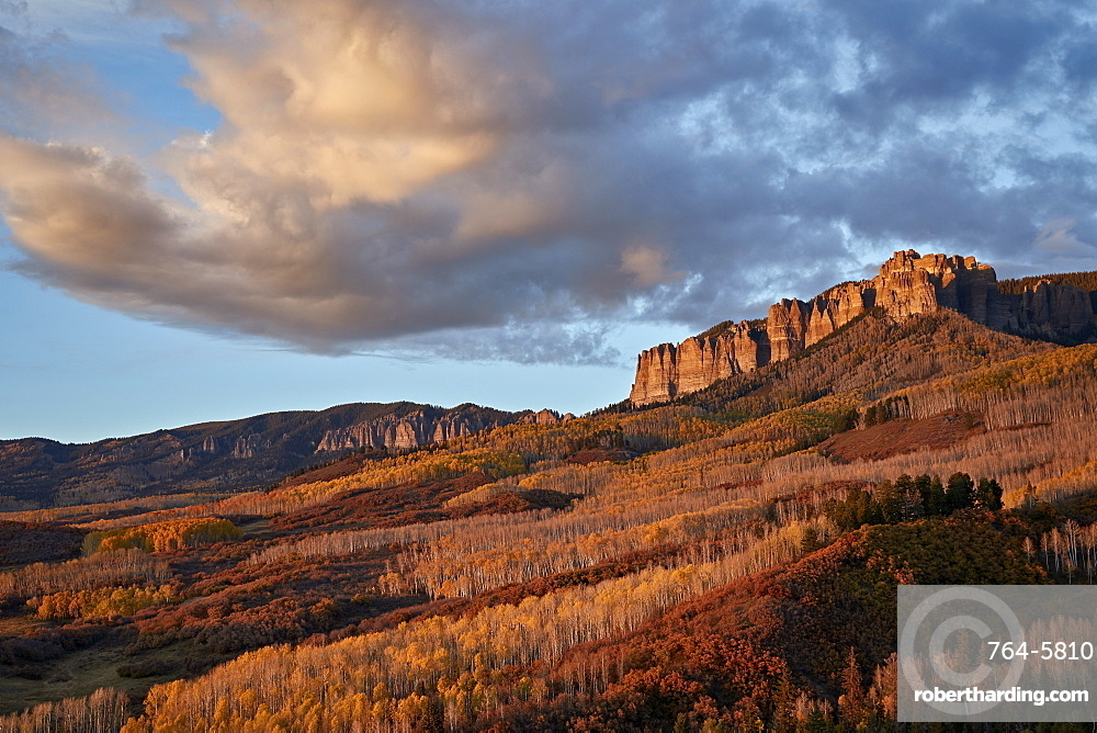Clouds over the palisades at Owl Creek Pass in the fall, Uncompahgre National Forest, Colorado, United States of America, North America