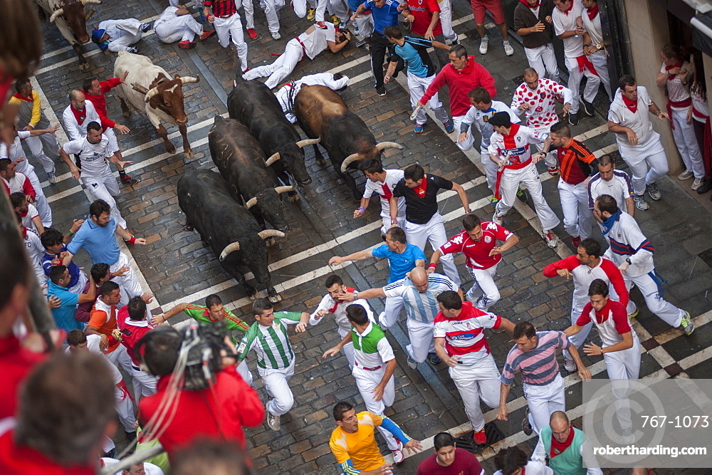 Running of the Bulls, Festival of San Fermin, Pamplona, Navarra, Spain, Europe