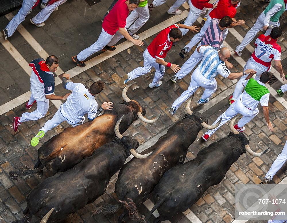 Running of the Bulls, Festival of San Fermin, Pamplona, Navarra, Spain, Europe