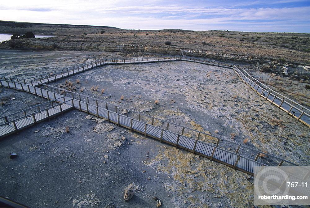 Dinosaur Trackway, Clayton Lake State Park, Clayton, New Mexico, United States of America, North America