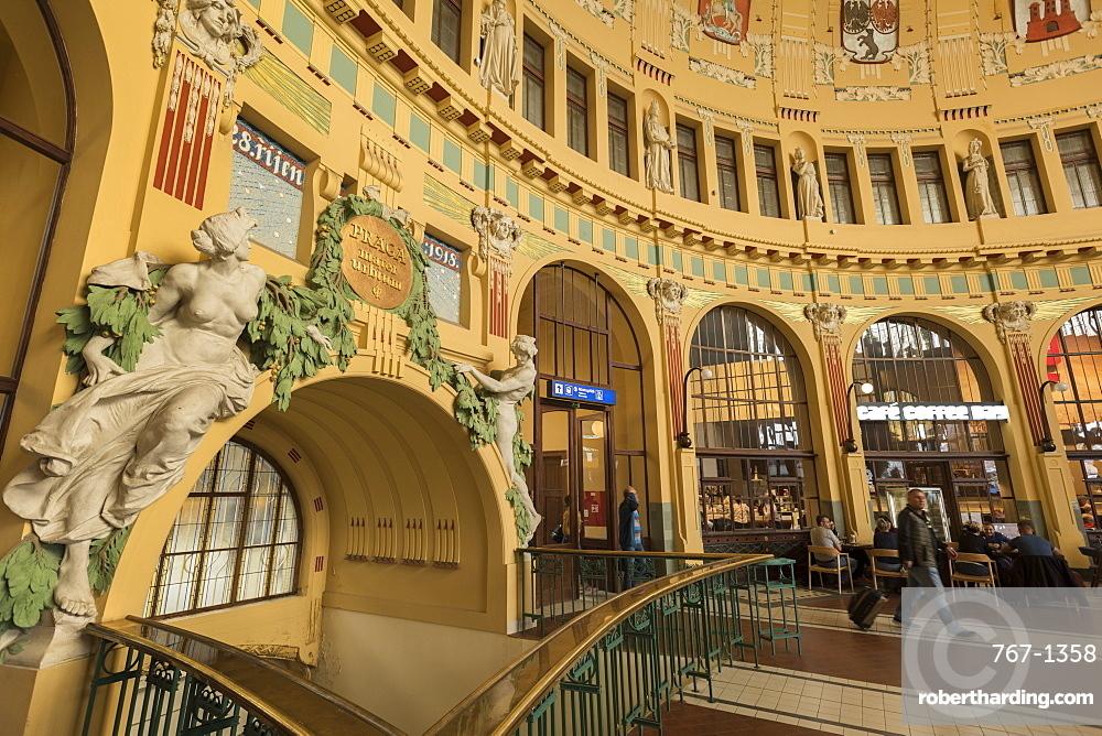Praha Hlavni Nadrazi, the main train station in Prague, Czech Republic, Europe