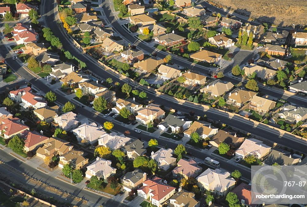 Aerial of suburbs, Albuquerque, New Mexico, United States of America, North America