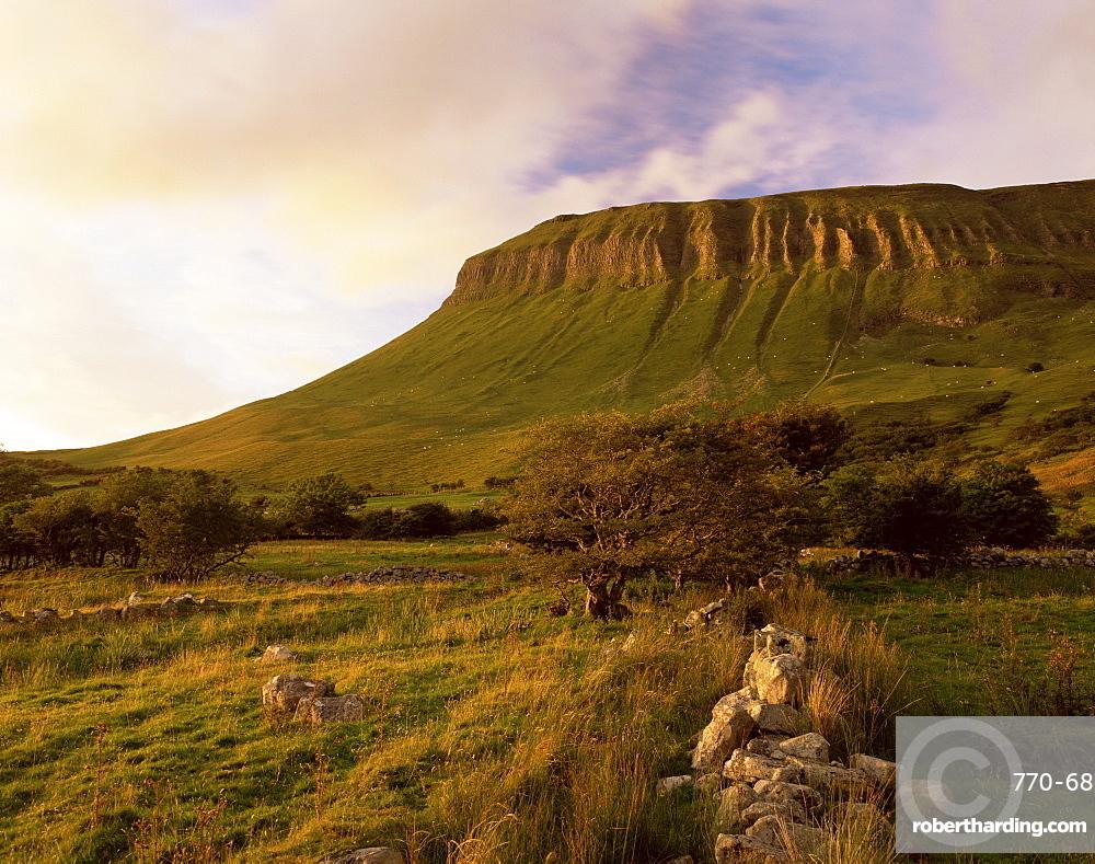 Benbulben, approx 500m, at sunset, near Sligo, County Sligo, Connacht, Republic of Ireland, Europe