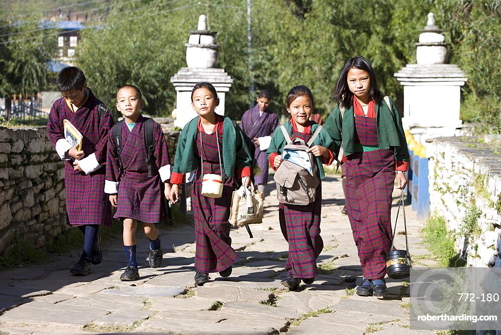 Bhutanese children going to school, Paro, Bhutan, Asia