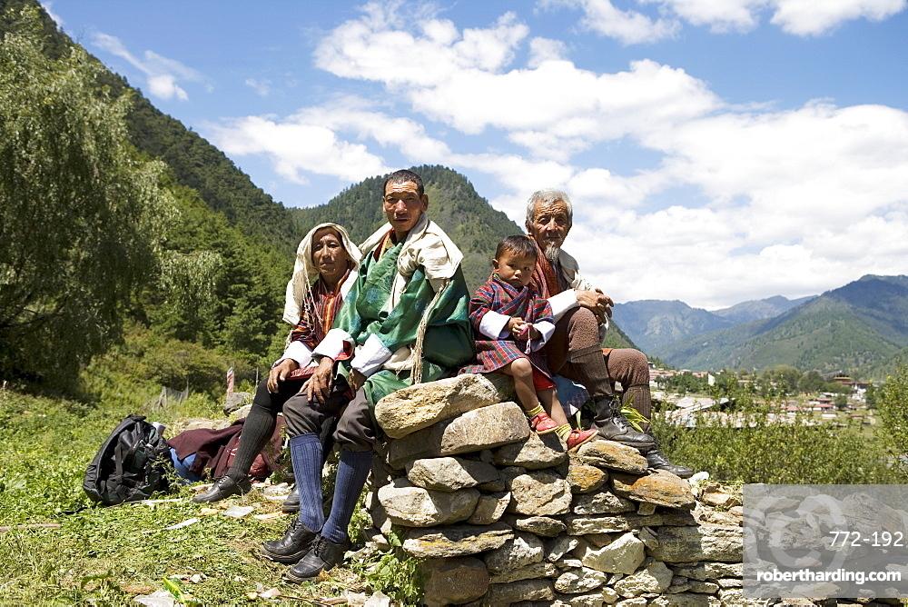 Pilgrims, Buddhist Festival (Tsechus), Haa Valley, Bhutan, Asia