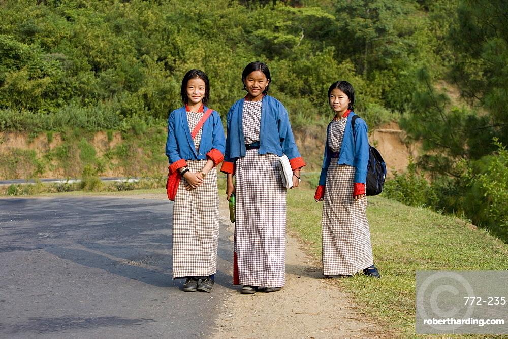Schoolgirls, Punakha, Bhutan, Asia