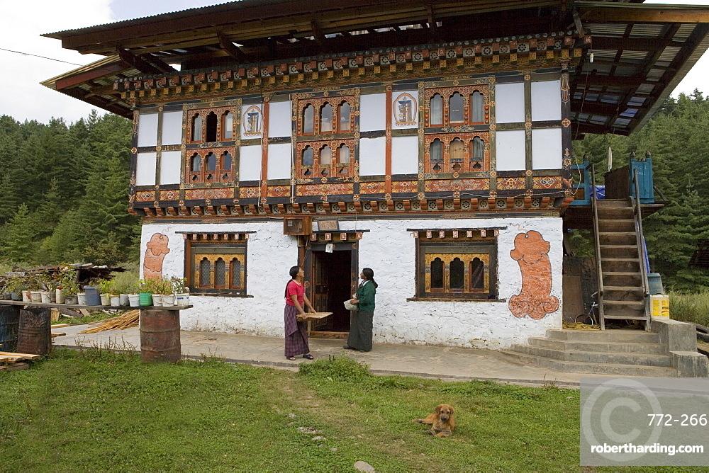 Phallus symbols on house to ward off evil spirits, Bumthang Valley, Bhutan, Asia