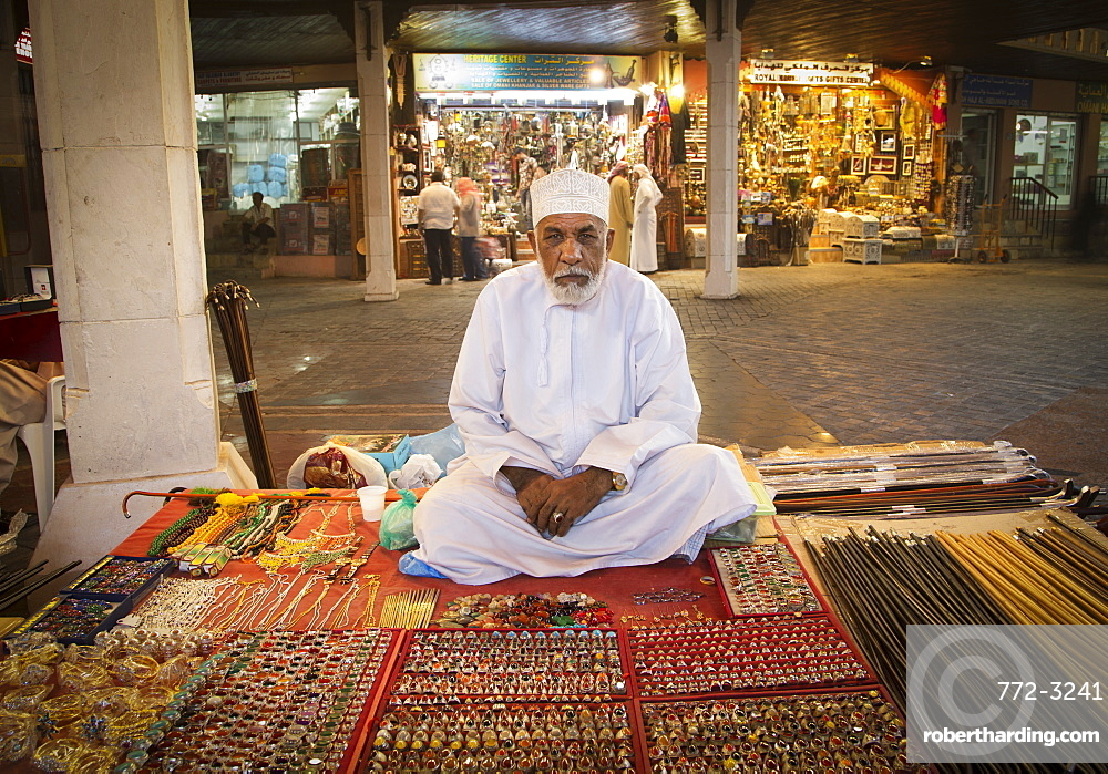 Merchant in Muscat's Souk, Muscat, Oman, Middle East