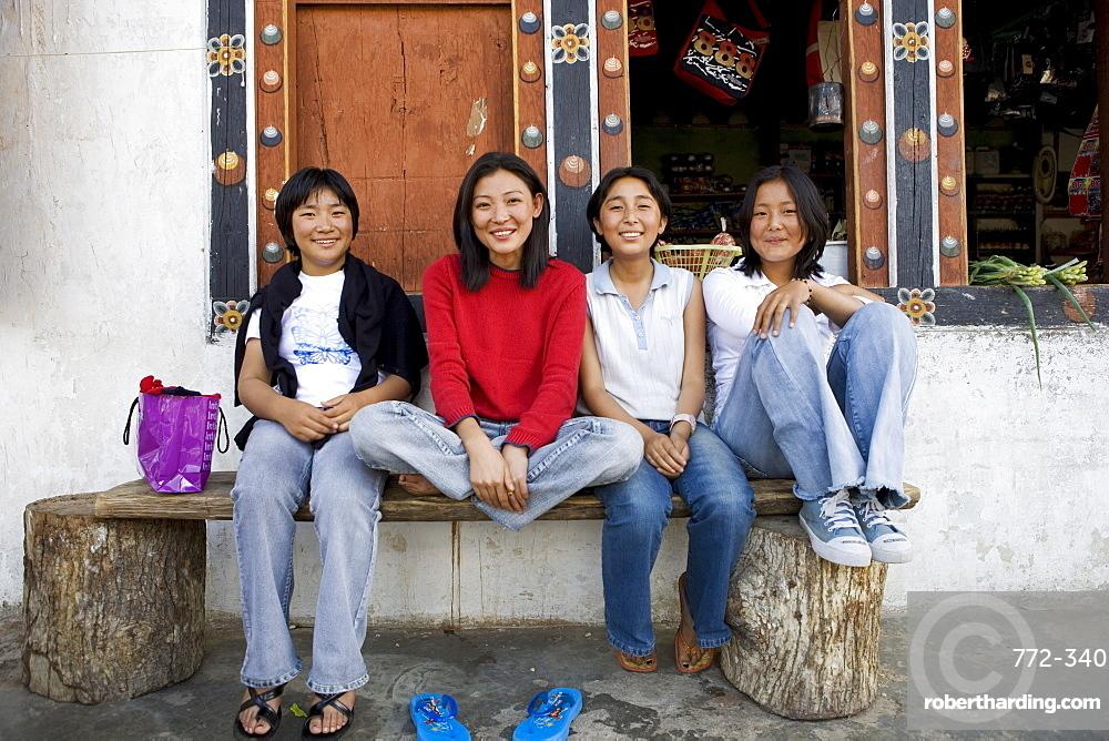 Bhutanese girls, Paro, Bhutan, Asia