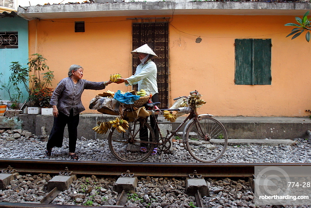 Selling bananas by the railway tracks in central Hanoi, Vietnam, Indochina, Southeast Asia, Asia