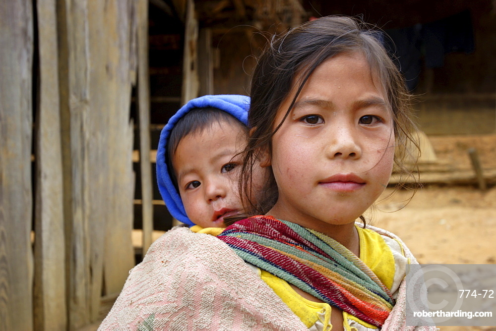 Young Hmong villagers in Xieng Khouang province, northern Laos, Indochina, Southeast Asia, Asia