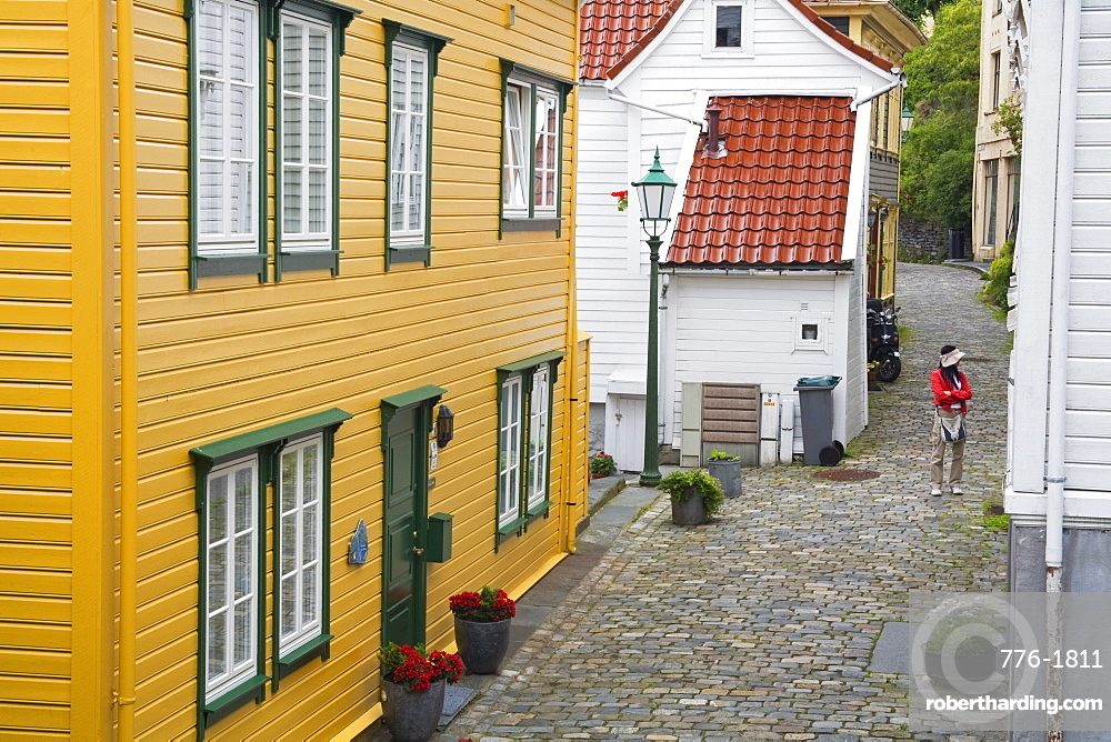 Wooden buildings in the Old Town District, Bergen City, Hordaland District, Norway, Scandinavia, Europe