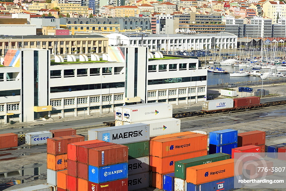 Containers on Santo Amaro Dock, Lisbon, Portugal, Europe