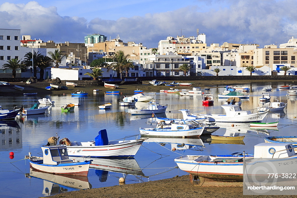 Fishing boats in Charco de San Gines, Arrecife, Lanzarote Island, Canary Islands, Spain, Atlantic, Europe