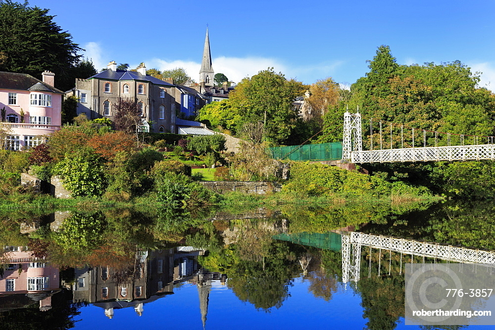 Reflection of houses on the River Lee near Fitzgerald's Park, Mardyke, Cork City, County Cork, Munster, Republic of Ireland, Europe