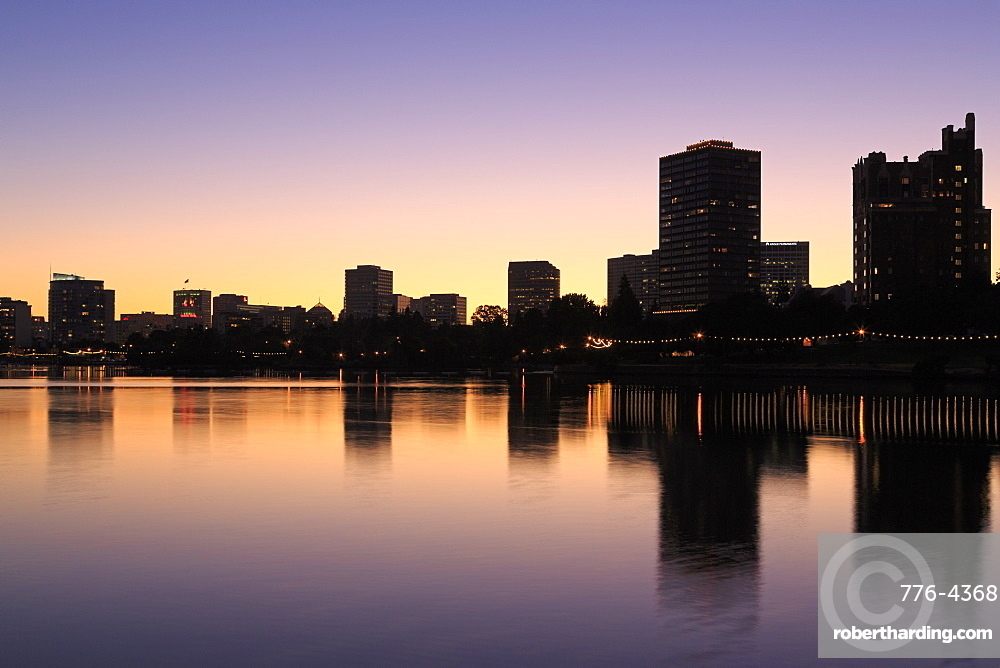 Oakland skyline and Lake Merritt, Oakland, California, United States of America, North America