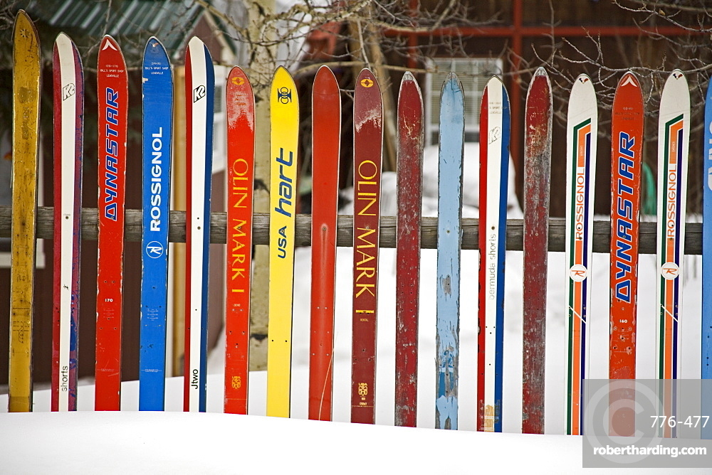 Fence made from skis, City of Leadville. Rocky Mountains, Colorado, United States of America, North America
