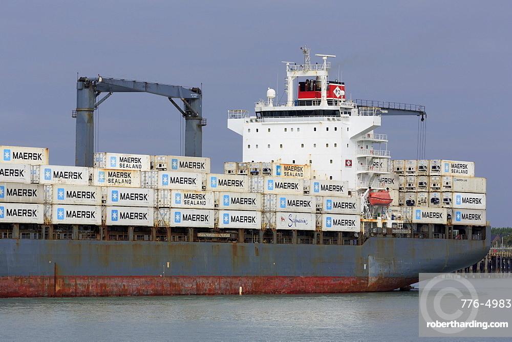 Container ship, Portsmouth, Hampshire, England, United Kingdom, Europe