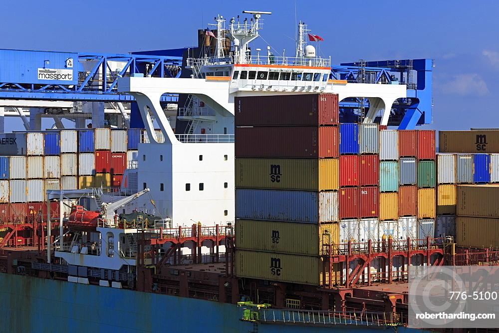 Container ship, Boston, Massachusettes, New England, United States of America, North America