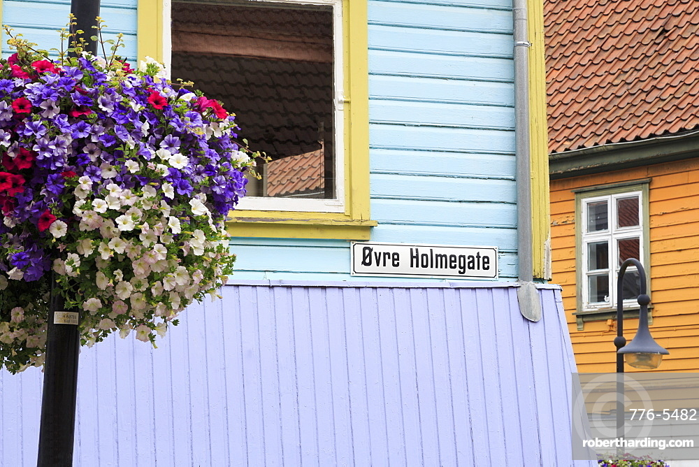 Colorful buildings on Ovr Holmegata, Stavanger City, Rogaland County, Norway, Scandinavia, Europe