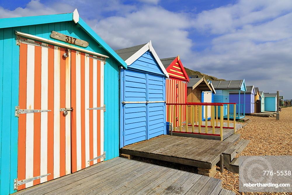 Beach huts, Milford on Sea, Hampshire, England, United Kingdom, Europe