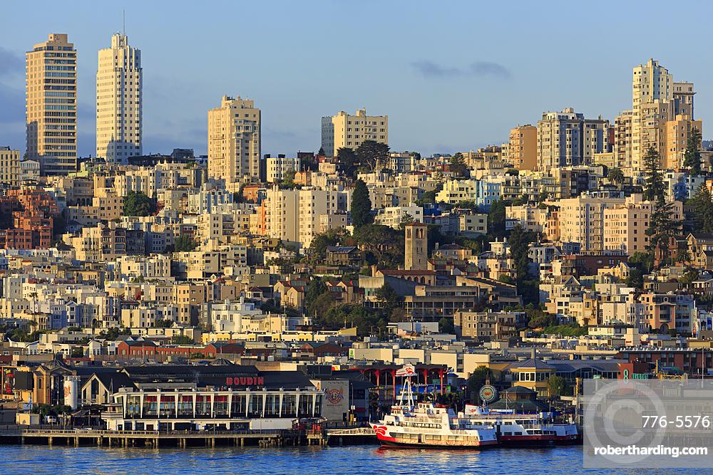 Skyline and Fisherman's Wharf, San Francisco, California, United States of America, North America
