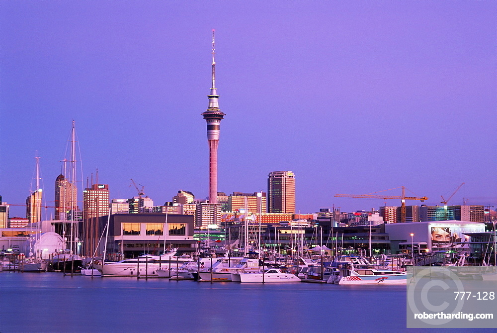 Sky Tower and skyline, Auckland, North Island, New Zealand, Pacific