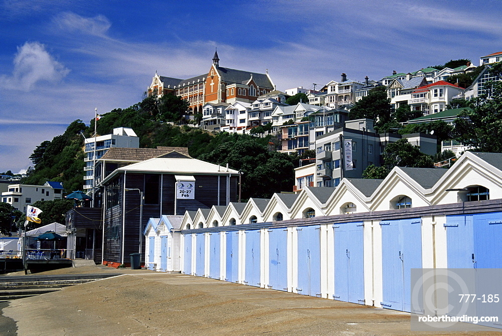 Boat sheds, Clyde Quay Marina, Wellington, North Island, New Zealand, Pacific