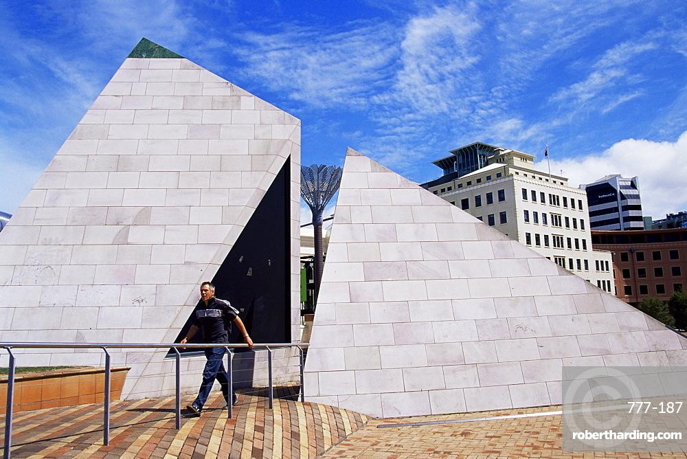 Te Aho A Maui pyramid, Civic centre, Wellington, North Island, New Zealand, Pacific