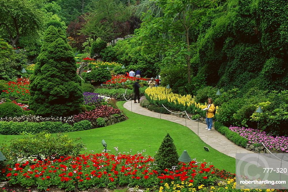 Sunken Garden, Butchart Gardens, Vancouver Island, British Columbia, Canada, North America