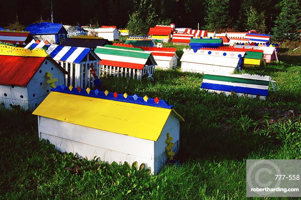 Spirit houses, Eklutna Historical Village, Anchorage area, Alaska, United States of America, North America