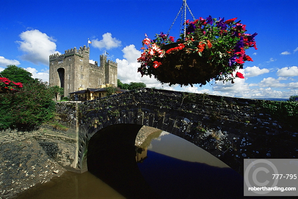 Flower basket and Bunratty Castle, County Clare, Munster, Republic of Ireland, Europe