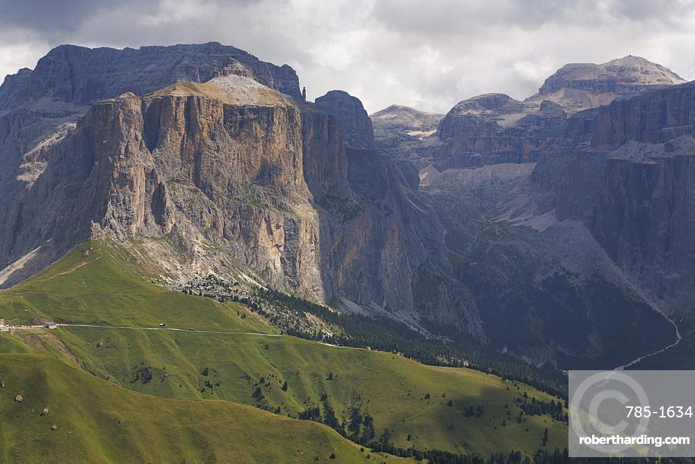 The dramatic Sass Pordoi mountain in the Dolomites near Canazei, Trentino-Alto Adige, Italy, Europe