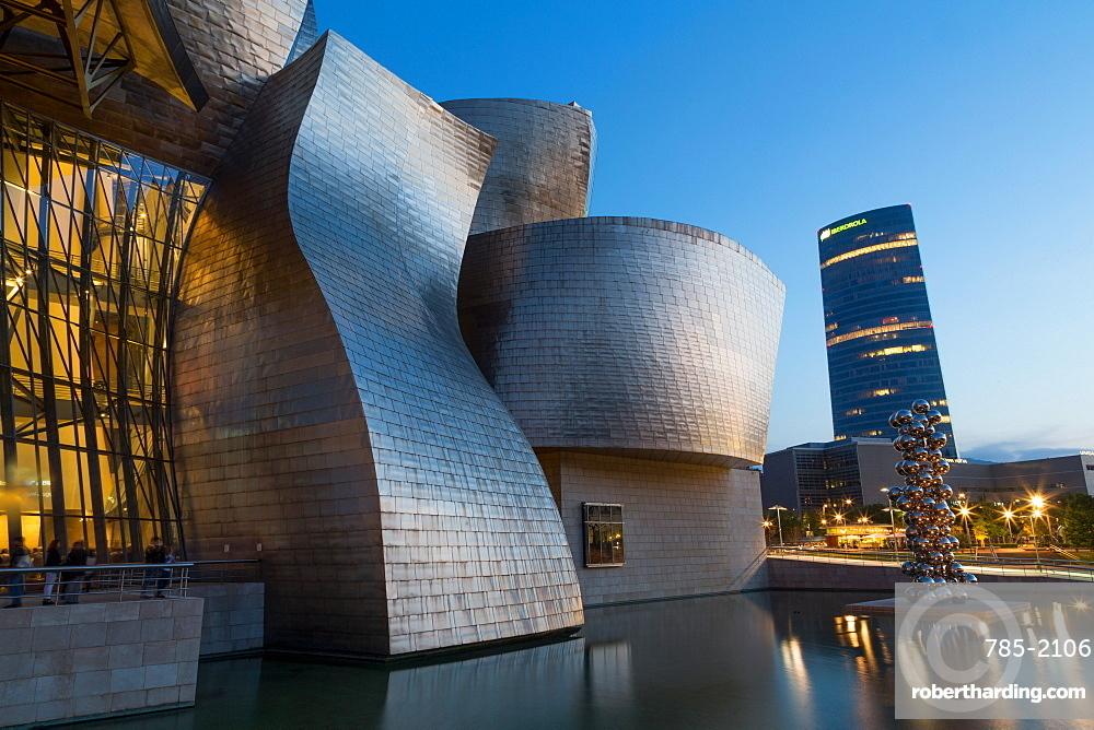 The Guggenheim Museum and Iberdrola Tower in Bilbao, Biscay (Vizcaya), Basque Country (Euskadi), Spain, Europe