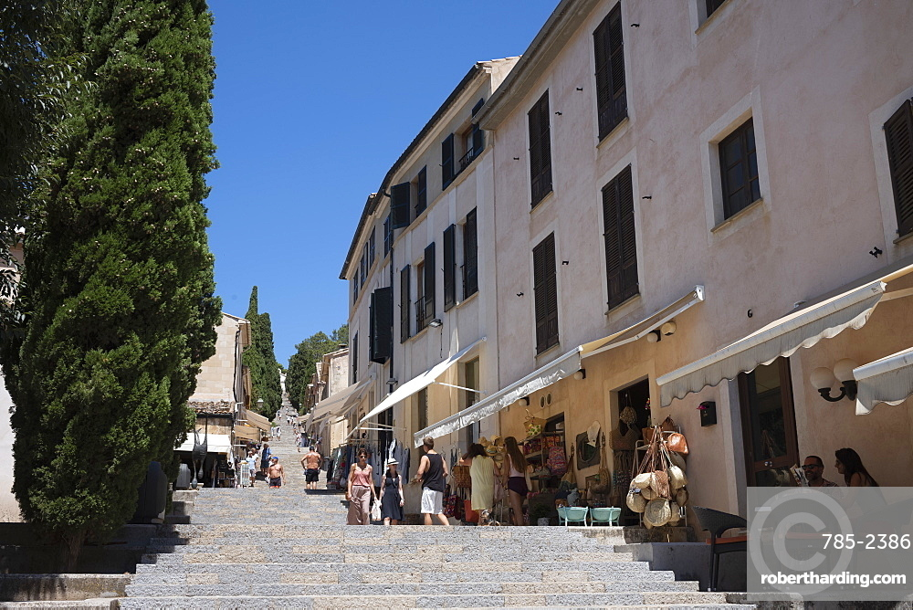 The (365) Calvari Steps leading to the chapel from Pollenca on the Mediterranean island of Mallorca, Balearic Islands, Spain, Europe