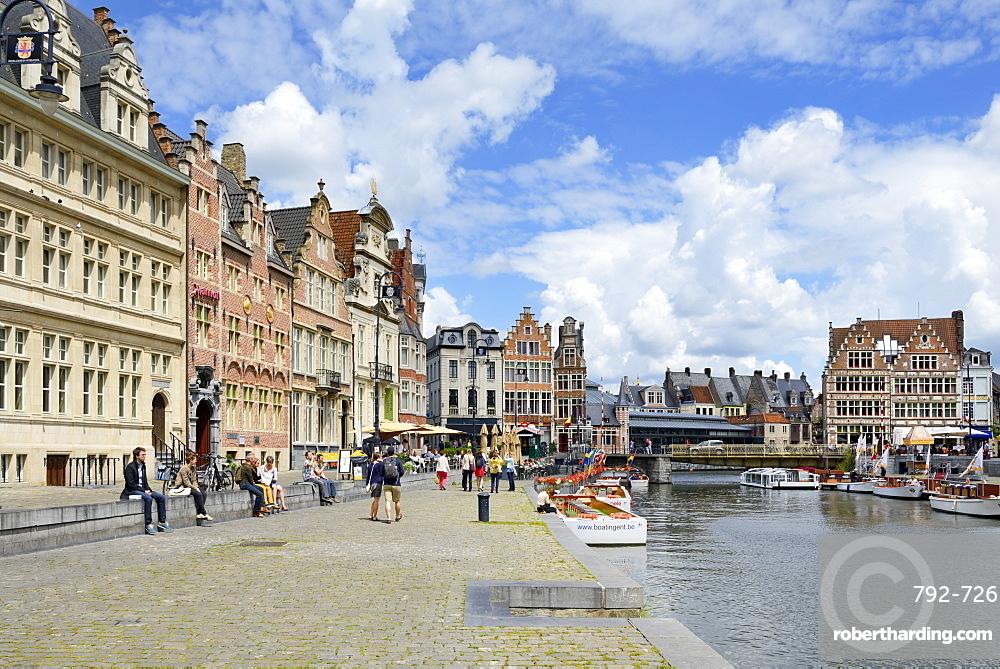 Korenlei Quay in the old port, Ghent, Flanders, Belgium, Europe