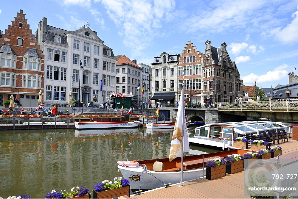 Pleasure boats on the river, looking towards Korenlei quay, Ghent, Flanders, Belgium, Europe