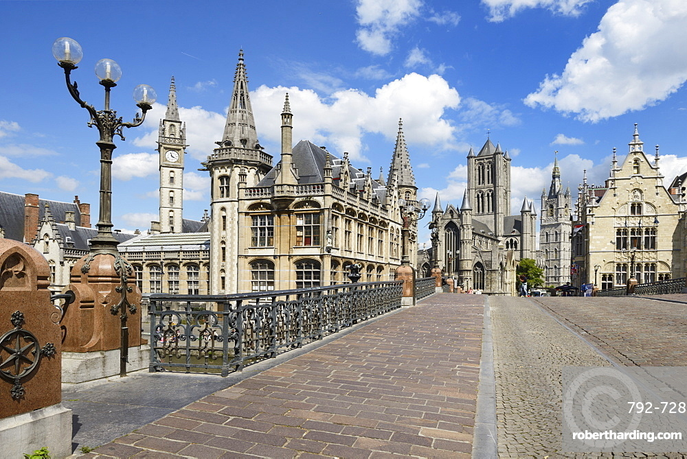 Old Post Office and St. Nicholas' Church from Michielsbrug (St. Michael's bridge), Ghent, Flanders, Belgium, Europe
