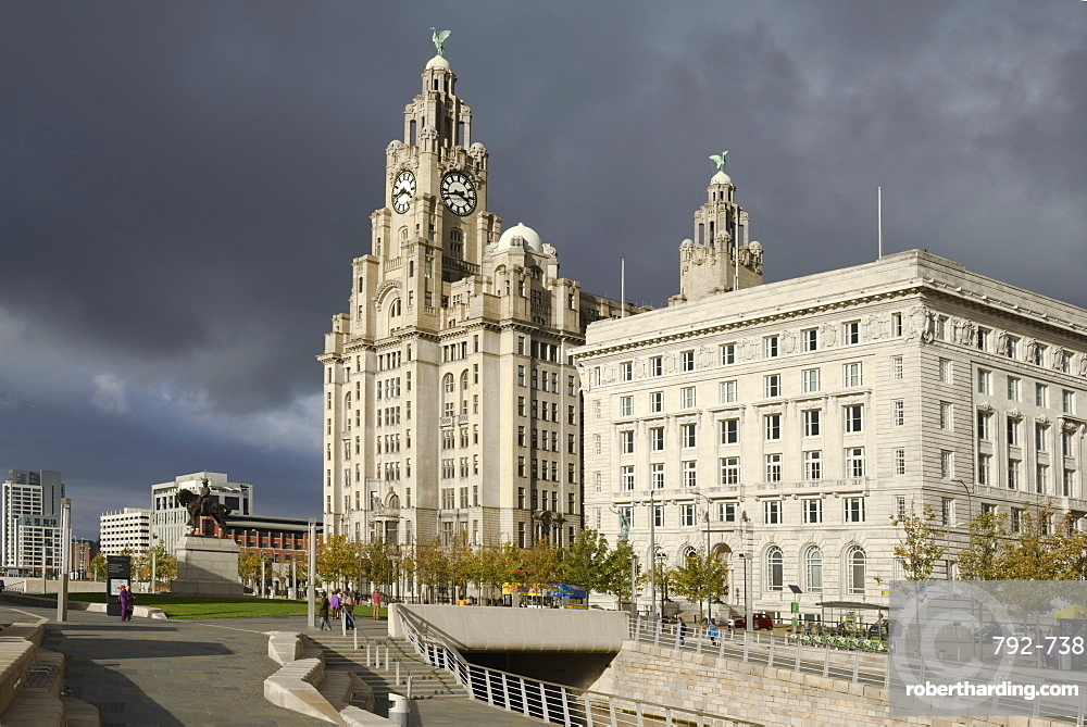 The Royal Liver Building and the Cunard Building, Pier Head, Liverpool, Merseyside, England, United Kingdom, Europe