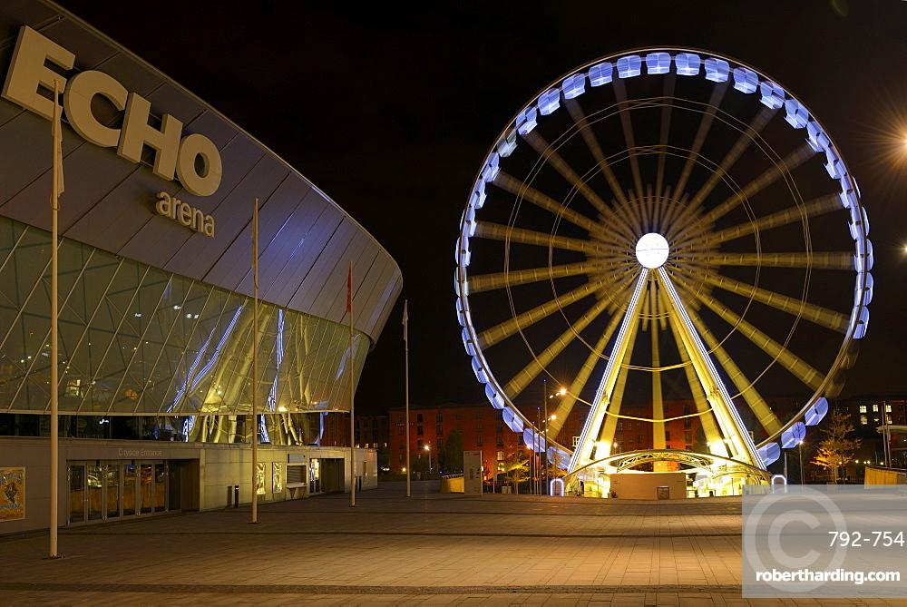 The Wheel of Liverpool and Echo Arena, Keel Wharf, Liverpool, Merseyside, England, United Kingdom, Europe
