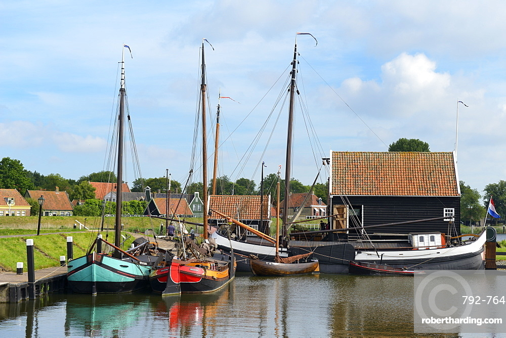Boats in a fishing port at Zuiderzee Open Air Museum, Lake Ijssel, Enkhuizen, North Holland, Netherlands, Europe