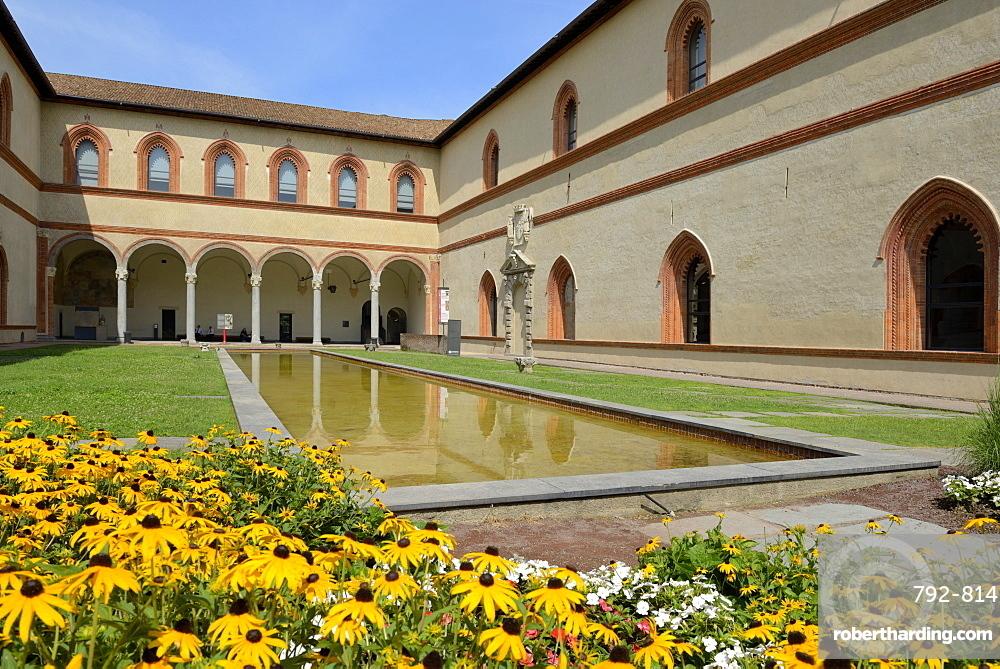 Garden in the Ducal Courtyard, Sforzesco Castle (Castello Sforzesco), Milan, Lombardy, Italy, Europe