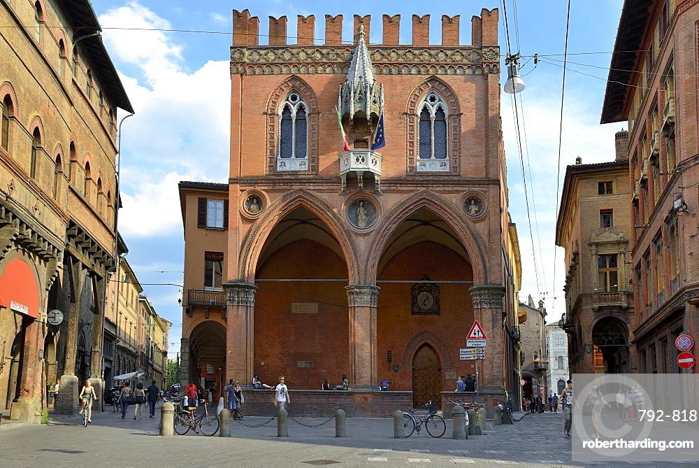 Historical Loggia Mercanzia, Palazzo della Mercanzia, Bologna, Emilia-Romagna, Italy, Europe