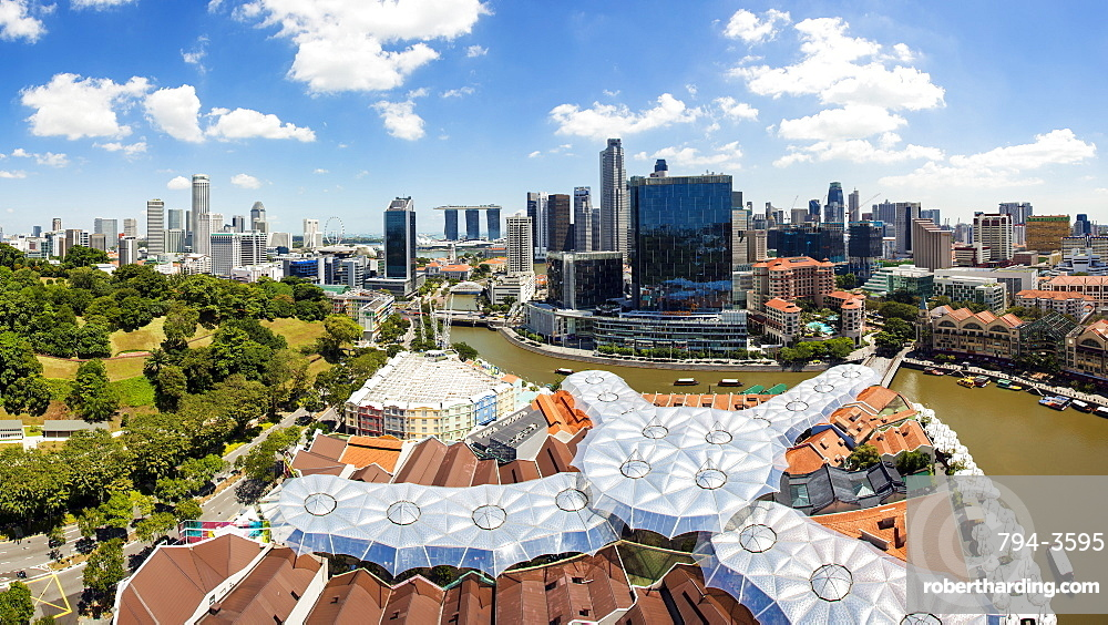 Elevated view over Fort Canning Park and the modern city skyline, Singapore, Southeast Asia, Asia