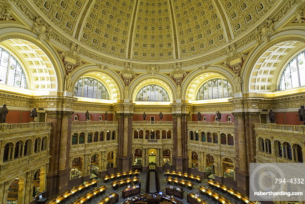 The Great Hall in the Thomas Jefferson Building, Library of Congress, Washington DC, United States of America, North America